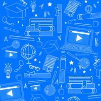 Materiale scolastico Doodle Pattern vettore