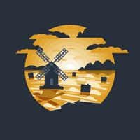 Paesaggio rurale con l'illustrazione del mulino a vento. vettore