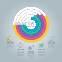 Caricamento del concetto di business design infografico con 5 opzioni, parti o processi.