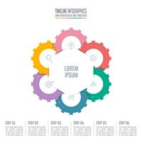 concetto di business design infografico con 6 opzioni.