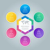 Concetto di business design infografica esagono e cerchi con 6 opzioni