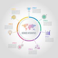 Concetto di business design infografico circolare mondo con 7 opzioni, parti o processi.