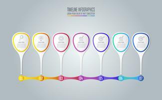 Sette concetto di business design infografico con 7 opzioni, parti o processi.