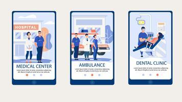 Pagina Web del centro medico sul set di smartphone