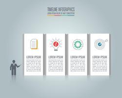 Presentazione concetto di business infografica con 4 opzioni. vettore