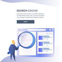 Banner del sito web del motore di ricerca vettore
