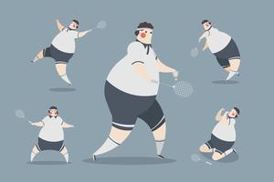 disegno del personaggio degli uomini di badminton vettore