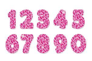 Numeri glitter rosa. Per feste e compleanni. vettore