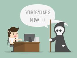 L'uomo lavora alla scrivania con un torvo mietitore dicendo che la scadenza è ora