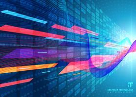 Concetto di tecnologia con effetti di scoppio di luce radiale al neon blu vettore