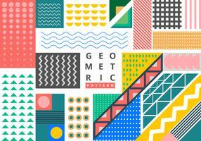 Bundle di elementi geometrici in stile memphis luminoso vettore