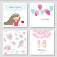 Set di cartoline e modelli di San Valentino simpatico cartone animato o compleanno. vettore