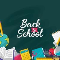 Torna al design della scuola con lavagna e articoli scolastici vettore