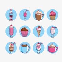 Set di dessert e cibi dolci vettore