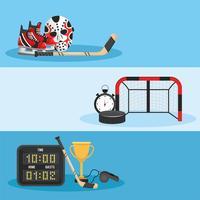 Set da hockey con uniforme e attrezzatura vettore