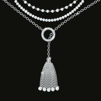 Collana in argento metallico con nappa, pietre preziose e catene