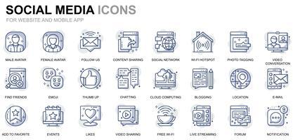 Icone di social media e linea di rete