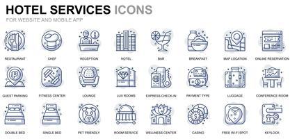 Icone della linea di servizio dell'hotel