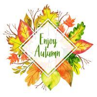 Godetevi l'autunno triangolare bella cornice di foglie d'autunno ad acquerello