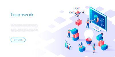 Concetto isometrico di lavoro di squadra per banner e sito Web