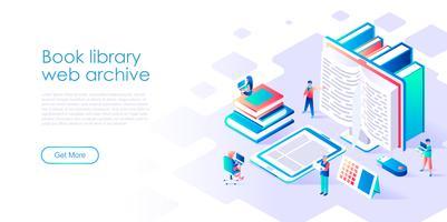 Concetto isometrico della biblioteca del libro per banner e sito Web