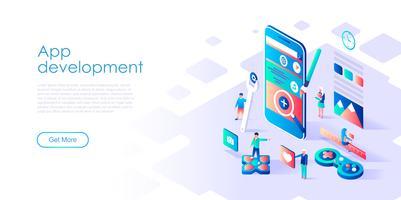 Concetto isometrico di sviluppo di app per banner e sito Web vettore