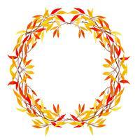 Bella cornice di foglie di autunno dell'acquerello corona