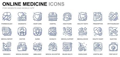Icone di linea medica e sanitaria vettore