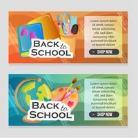 banner del sito Web con oggetti di scuola