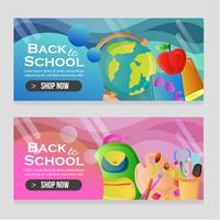 banner modello di scuola con oggetti di scuola
