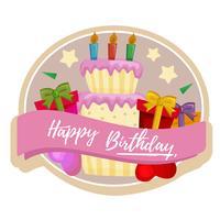 etichetta della torta di compleanno con torta e regali vettore