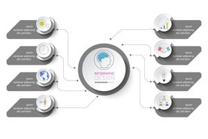 Infografica aziendale con 8 passaggi vettore
