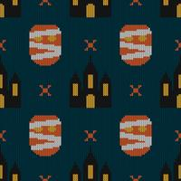 Seamless Knitting Texture con mostro e castello