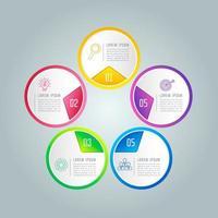 Concept creativo per infografica con 5 opzioni, parti o processi.