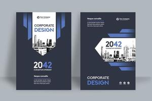 Modello blu reale di progettazione della copertina del libro di affari del fondo della città