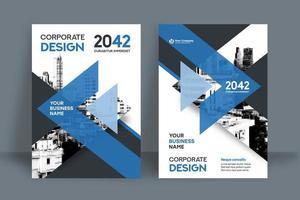 Modello blu di progettazione della copertina del libro di affari del fondo della città della freccia