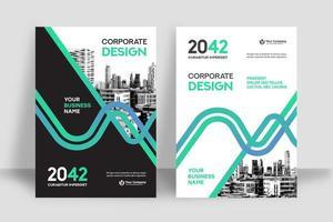Modello curvo di progettazione della copertina del libro di affari del fondo della città