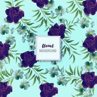 Disegno floreale blu e viola