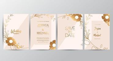 Biglietti d'invito per matrimoni di lusso premium vettore