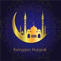 Ramadan Mubarak Golden Moon Background