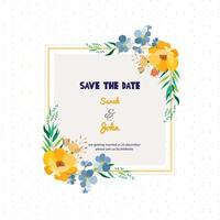 Floreale Save The Date Square Card vettore