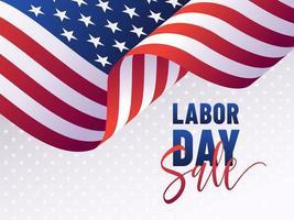 Modello dell'insegna di vendita di festa del lavoro della bandiera di USA