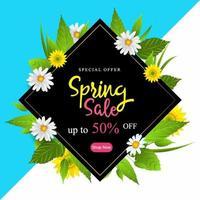 Manifesto di vendita di primavera con fiori e foglie vettore