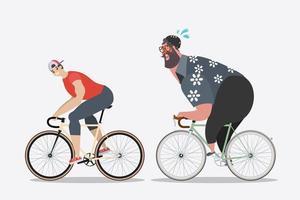 Uomini magri con uomini grassi in bicicletta vettore