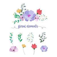 Raccolta di elementi floreali vettore