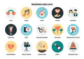 Set di icone di nozze e amore