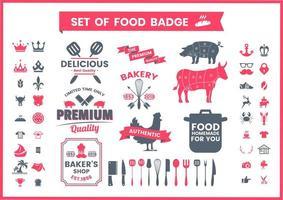 Distintivi di cibo vintage ristorante