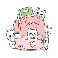 Fumetto sveglio di nuovo al gatto di scuola nel vettore della borsa.