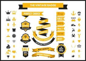 Collezione di badge vintage dorato vettore