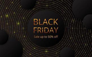Offerta del Black Friday vendita modello di banner poster con cerchio punto dorato glitter